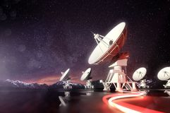 Radio Telescopes Searching for Astronomical Objects Royalty Free Stock Image