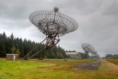 Radio telescopes on the site of the former concentration camp Westerbork Royalty Free Stock Images
