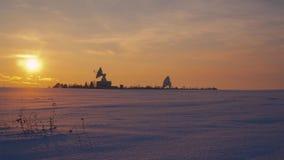 Radio telescopes at sunset stock footage