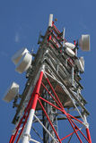 Radio tower. Cellular telephony radio tower, with many antennas stock photography