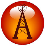 Radio tower button or icon Royalty Free Stock Photo