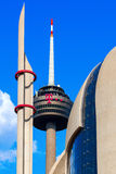 Radio tower called Colonius and modern Islamic mosque in Cologne, Germany Royalty Free Stock Images