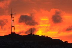 Radio tower, clouds and sunset Royalty Free Stock Images