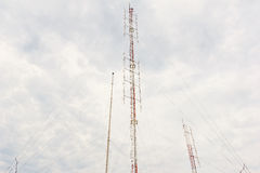 Radio tower with cloudy sky. Radio tower with cloudy sky in background Stock Images