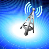 Radio tower icon waves on blue  background Royalty Free Stock Images
