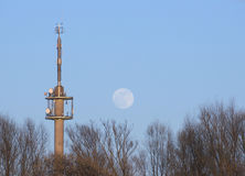 Radio Tower With Moon Royalty Free Stock Image