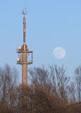 Radio Tower With Moon Stock Image