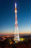 Radio tower at night Royalty Free Stock Images