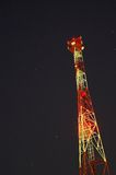Radio tower on night sky with stars Stock Image