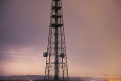 Radio tower in Queensland during a lightning storm. Royalty Free Stock Images
