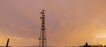 Radio tower in Queensland during a lightning storm. Royalty Free Stock Photo