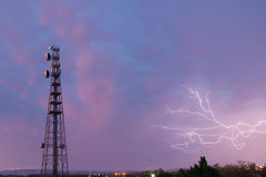 Radio tower in Queensland during a lightning storm. Royalty Free Stock Photos