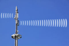 Radio tower radiation. Radio tower with symbolic radiation stock image