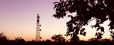 Radio Tower with sky background. Royalty Free Stock Photography