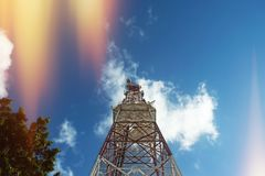 The Radio Tower. Standing underneath a radio tower stock photos