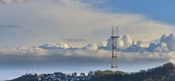 Radio Tower. Stormy weather moves through San Francisco. Clouds behind Sutro Tower on Twin Peaks stock photo