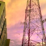 Radio Tower at Sunset Royalty Free Stock Photography