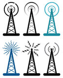 vector radio tower symbols Royalty Free Stock Photo