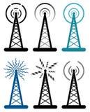 Vector radio tower symbols Royalty Free Stock Photo