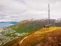 Radio tower on top of the mountains surrounding Tromso, Norway. Taken close to the summer solstice Stock Images