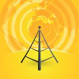 Radio tower transmitter and world map Royalty Free Stock Photography