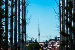 Radio tower in the village among the forest royalty free stock photo