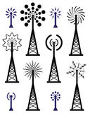 vector radio tower and wave broadcast symbols and  Stock Photo