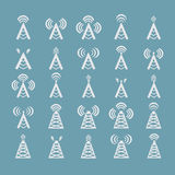 Radio tower or wireless tower symbols  Stock Photo