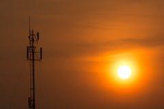 The radio towers dominate the skyline has cut the orange mornin Royalty Free Stock Photo