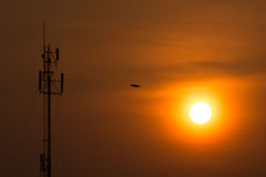 The radio towers dominate the skyline has cut the orange mornin Royalty Free Stock Photography