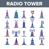 Radio Towers And Masts Vector Linear Icons Set vector illustration