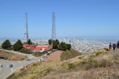 Radio Towers Twin Peaks San Francisco California. Two Radio Towers Twin Peaks San Francisco California Royalty Free Stock Photo