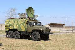 Radio tracking. The military truck for radio tracking on range Stock Photos