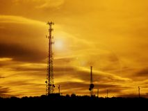 Radio Transmission Tower Antenae. Silhouette of radio transmission tower for transmitting communication signals stock image