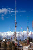 Radio and transmission towers on Sandia Peak, New Mexico. Stock Photo