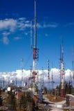 Radio and transmission towers on Sandia Peak, New Mexico. Stock Photo