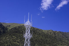 Radio transmitting tower. Against sky Stock Photos
