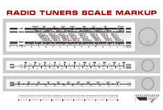 Radio tuner scale dashboard markup vector Stock Photo