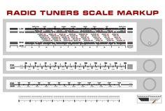 Radio tuner scale dashboard markup vector. 3 styles Stock Photo