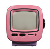 Radio TV. Pink Radio and television set isolated over white Stock Photo