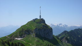 Radio and tv tower on top of a mountain Royalty Free Stock Photos