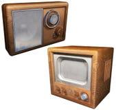 Radio vieja y vieja televisión Foto de archivo libre de regalías