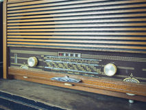 Radio vintage style close up tune button Stock Photos