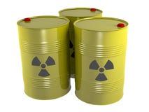 Radio waste barrel. Yellow radioactive radio waste barrel Stock Photo