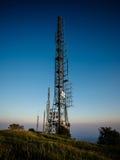 Radio waves antenna in mountain Royalty Free Stock Image