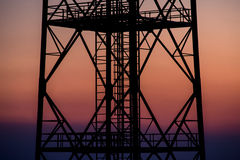 Radio waves antenna at sunset Stock Photos