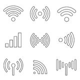 Radio waves line icons Royalty Free Stock Photography