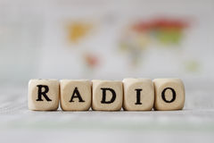 Radio. Word built with letter cubes Stock Photography