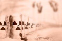Radioactief afval bij elektrische centrale dichtbij overzees Het trekken op papier stock illustratie