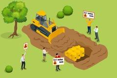 Radioactief afvalconcept De mensen protesteren milieuvervuiling met radioactief afval Vlakke 3d vector isometrisch stock illustratie